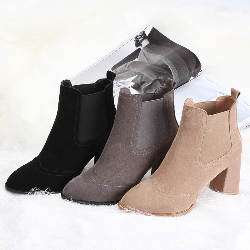 L&T Women Sexy Ankle Boots New Winter Warm Solid Pumps Shoes Suede Square Heels Boot Shoes Woman Plus Size 34-39 W75723 dunlop winter maxx wm01 205 65 r15 t