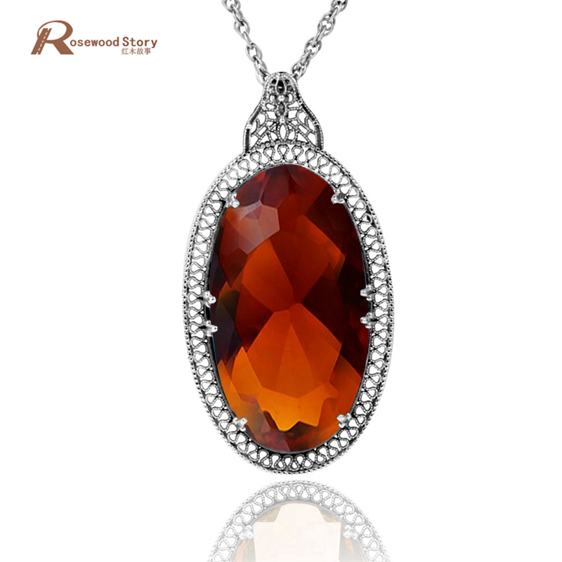 South Korea wedding jewelry statement necklace pendant fashion 5.2ct hollow out brown stone 925 sterling silver pendant