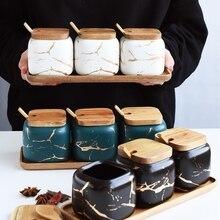 Креативный керамический кухонный бак для приправ в скандинавском стиле с мраморным узором, набор с деревянной крышкой, солонка, баночка для специй, кухонные аксессуары