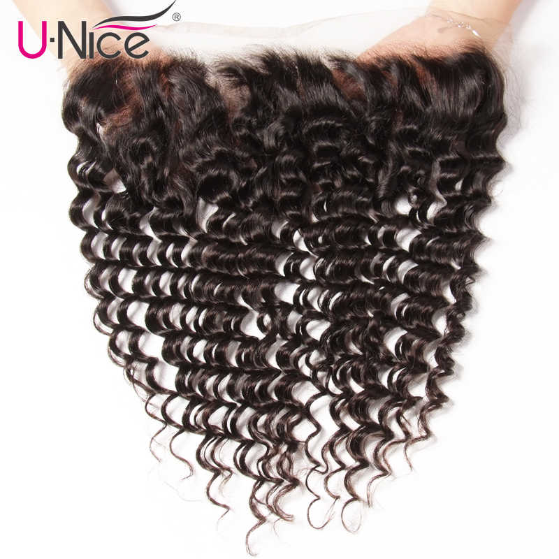 UNice Hair Indian Deep Wave Lace Frontal Closure 13*4 Ear to Ear Free Part 100% Remy Human Hair Natural Color 10-20 Inch