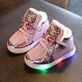 De piel de invierno zapatos de los niños de luz Led para arriba los zapatos de moda casual botas Rhinestone muchacha del niño zapatos de La Princesa zapatillas de deporte Lindas size21-30