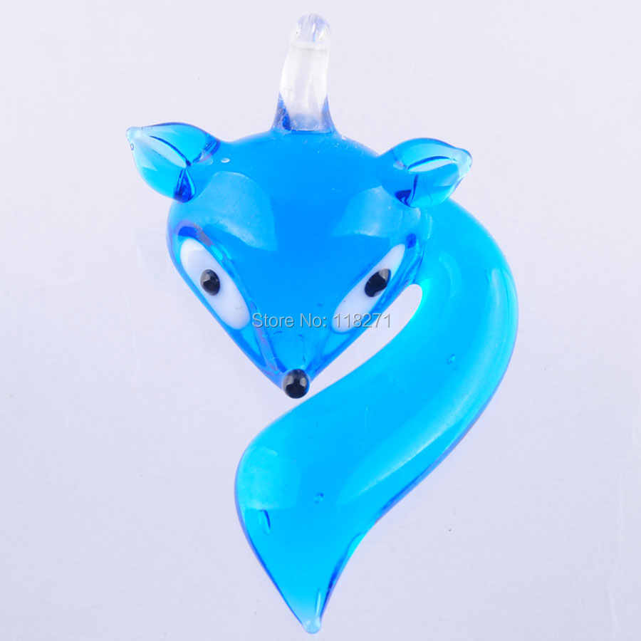 WOJIAER จัดส่งฟรี Clever Fox Lampwork แก้วจี้ลูกปัด Murano สำหรับ SP สร้อยคอน่ารัก PBH308