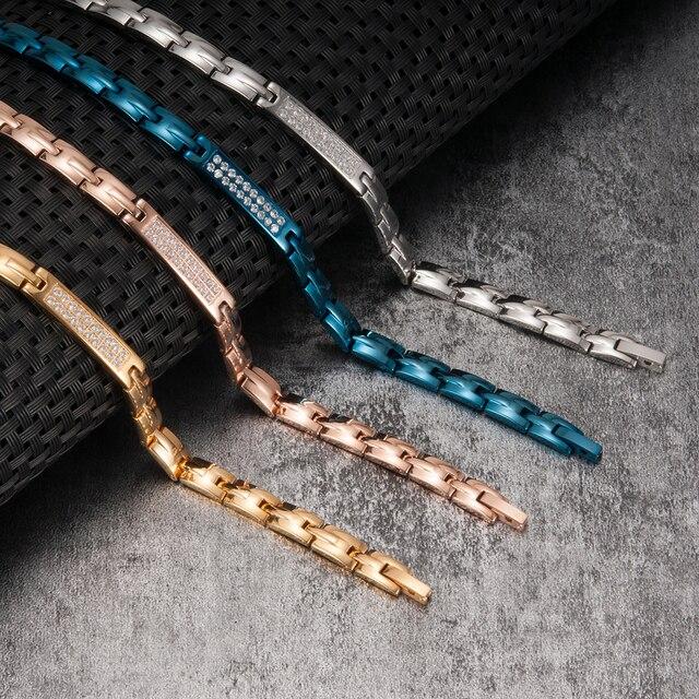Vinterly Steel Magnetic Bracelet Stainless Steel Germanium Energy Bracelet Crystal Gold Chain Hologram Bracelets Gifts for Women