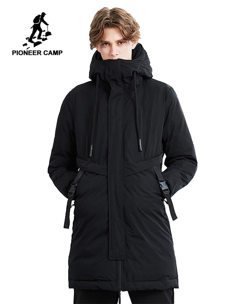 Пионерский лагерь новая зимняя длинная Парка мужская брендовая одежда толстая Мода Регулировка пояса Куртки пальто мужской качество парки...