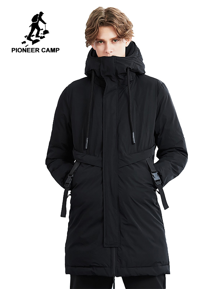 Pioneer camp new winter long parka men brand clothing thick fashion adjustment belt jackets coat male quality parkas AMF801440