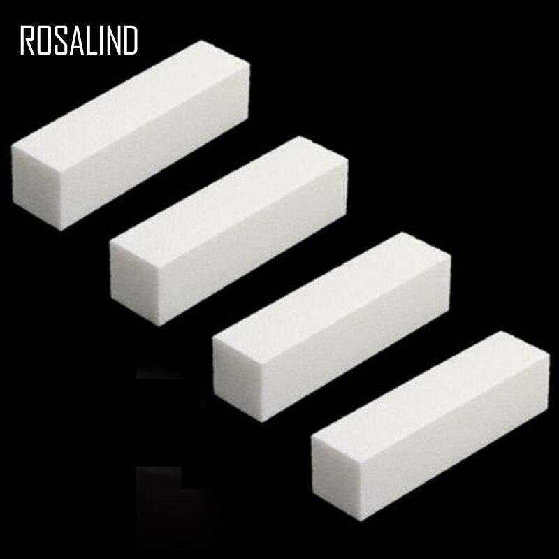 ROSALIND 4Pcs/Lot White DIY Nail Art Woman Salon Nail Tools Buffer File Block Pedicure Manicure Buffing Sanding Polish