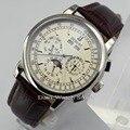 Debert 42mm Weiß Zifferblatt Mond Phase Silber Fall Automatische Datum Tag Uhr-in Mechanische Uhren aus Uhren bei