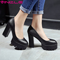 VINLLE 2017 Women Pumps Spring Western Style Party Shoes Platform Platfrom Square High Heel Wedding Women Pumps Big Size 34-42