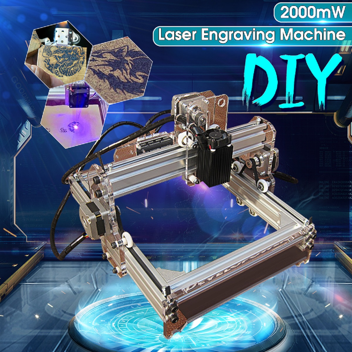 2000MW A5 17x20cm Laser Engraver Cutting Machine Desktop Engraving CNC Printer DIY Desktop Wood Cutter