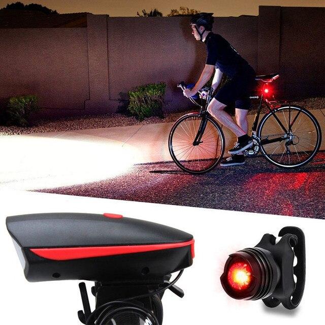 Super brillante USB Led bicicleta luz recargable Faro y conjunto de luz trasera