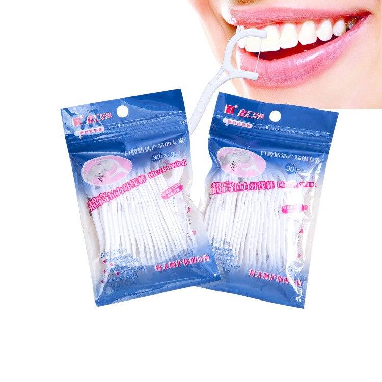 30 шт./1 упаковка зубочистка зубов Зубная нить 2 в 1 уход за зубами уход за полостью рта инструменты для ухода за зубами межзубная щетка