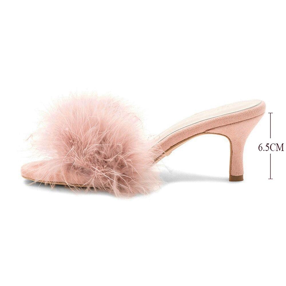 Maguidern New Fashion Spring/Autumn Fluffy Fur Women Mules Round Open Toe 6.5 Cm Stiletto Heel Slippers