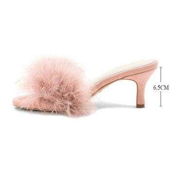 Maguidern/Новые модные женские меховые мюли на весну-осень с закругленным открытым носком, 6,5 см, на шпильках