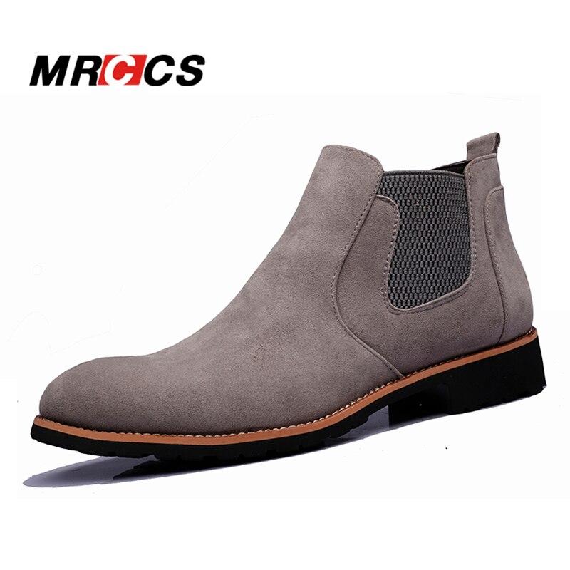 MRCCS Spring Autumn Klassisk Suede Læder Chelsea Støvler til mænd, Simple & Fashion Ankel High Boots, Mænds Alle Match Casual Sko