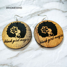 Natural Wood Black Girl Magic Engraved Women Head Tribal Tropical Earrings Vintage Wooden African Hiphop Jewelry Club Accessory