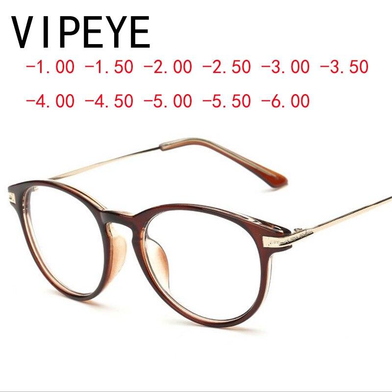 Ретро коричневый Рамки близорукость Очки модные закончил близорукость Очки Для женщин Для мужчин-100-150-200-250- 300-350-400-450-500-600