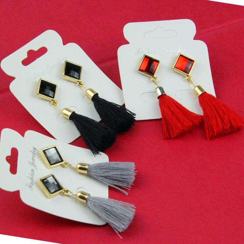 Bohemian Big Geometric Long Earrings Gold Color  Tassel Women Retro Alloy Water Drop Earrings Fashion Brincos Bijoux E075