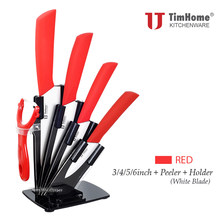 "high quality Timhome ceramic knife set kitchen chefs knives set 6"" 5"" 4"" 3"" with zirconia ceramic peeler(China)"