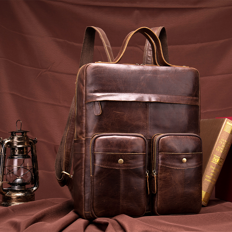 Mens Vintage Genuine leather Men Backpack Male Multifunction 14 Laptop Real Leather School Bag Casual Travel Bag for Man 8207Mens Vintage Genuine leather Men Backpack Male Multifunction 14 Laptop Real Leather School Bag Casual Travel Bag for Man 8207