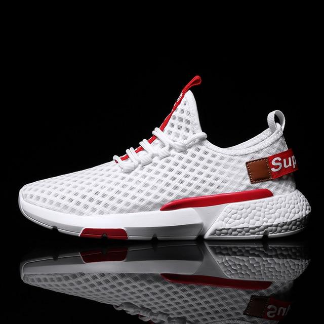 Дышащая Спортивная обувь для мужчин, Лидер продаж, красные модные кроссовки для бега, спортивная обувь, легкие, Нескользящие, удобные кроссовки
