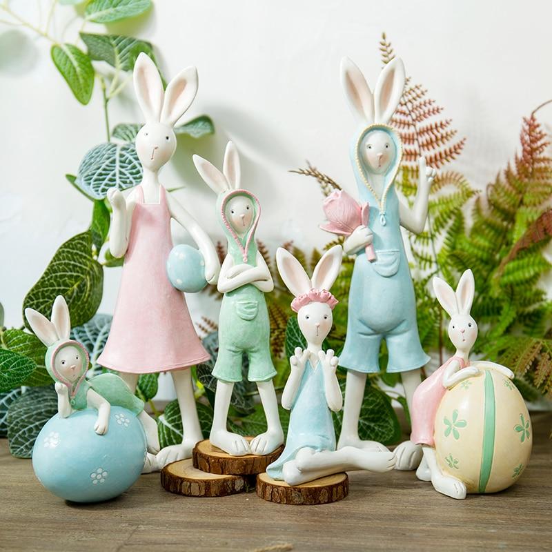 Decoration Home Decor Items: Mini Garden Bunny Family Creative Rabbits Resin Home Decor