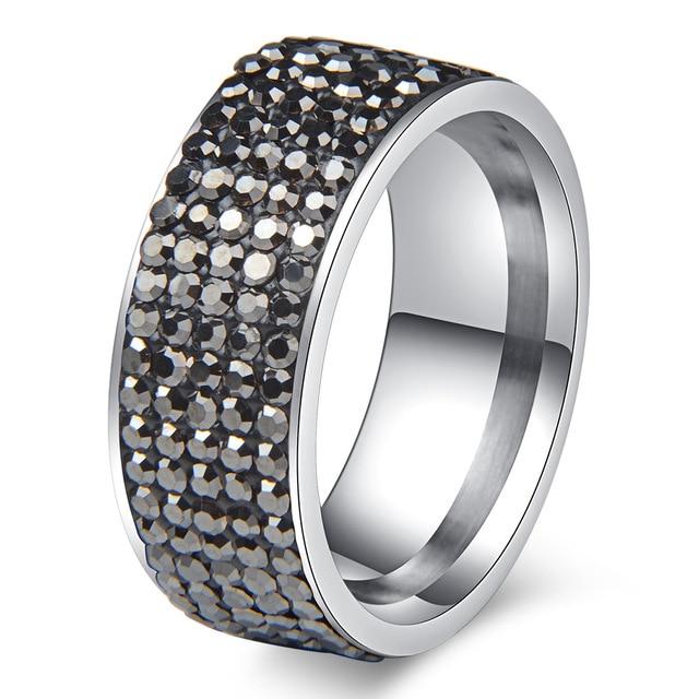 Chanfar 5 Rows Crystal Stainless Steel Ring Women for  Elegant Full Finger Love Wedding Engagement Rings 5