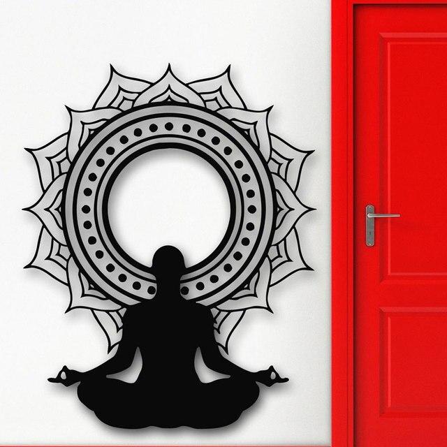 Vinilos adhesivos de pared meditación Lotus Pared de flores calcomanías Yoga budismo pared arte Mural hogar dormitorio Decoración Adhesivo de Yoga YJ18