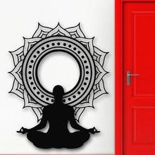 Виниловые настенные наклейки YJ18 с медитацией, цветком лотоса, наклейки на стену для йоги, буддизма, Настенная роспись, украшение для дома, спальни, наклейка для йоги