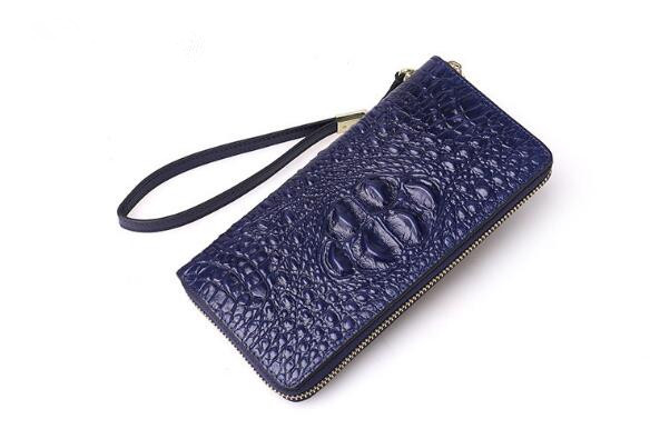 Genuine leather women crocodile zip long purse card holder wallet high quality women s long zipper wallet 2018 new high quality crocodile pattern split leather purse fashion card holder ladies day clutches