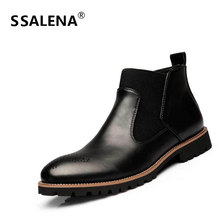Men Winter Classic Slip On Short Boots Male Solid Breathable Britsh Style High Top Shoes Men