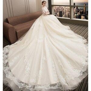 Image 3 - Fansmile יוקרה ארוך רכבת Vestido דה Noiva תחרה חתונה שמלת 2020 מותאם אישית בתוספת גודל שמלות כלה כלה שמלת FSM 480T