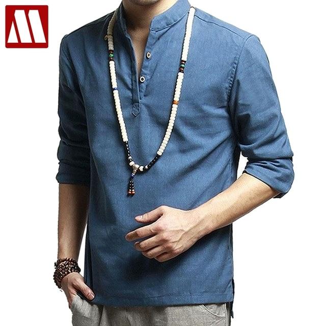 Asian fashion herren pullover hemd f r sommer langarm leinen shirts hemd ohne kragen m nner - Herren hemd ohne kragen ...