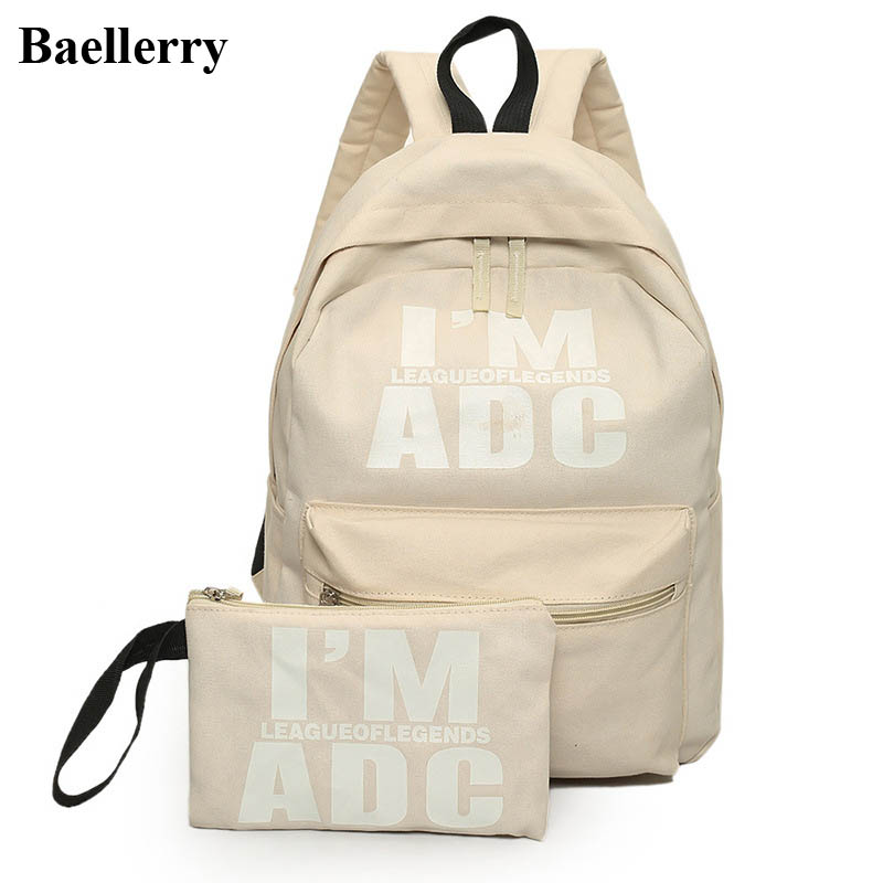цены  2Pcs/set Preppy Style Canvas Backpack Women Letter Printing Backpacks School Bags For Teenager Girls Schoolbag Female Travel Bag