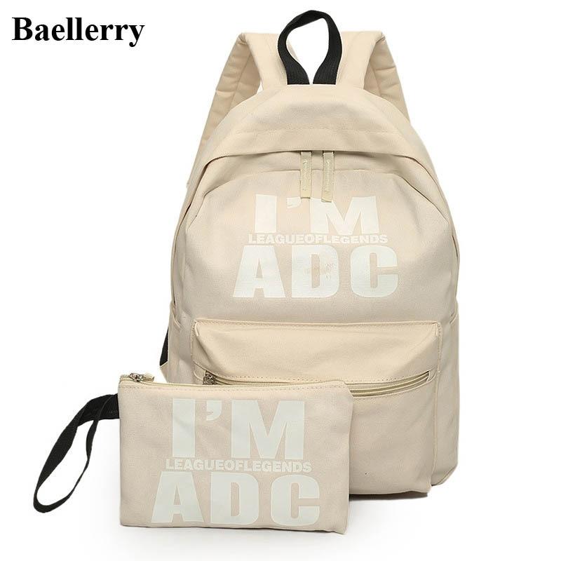 цены  2Pcs/set Preppy Style Canvas Backpack Women Letter Printing Backpacks School Bags For Teenager Girls Schoolbag Female Travel Bag