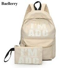 2 шт./компл. элегантный дизайн рюкзак Для женщин Письмо печати Рюкзаки Школьные сумки для подростка Обувь для девочек школьный женский дорожная сумка