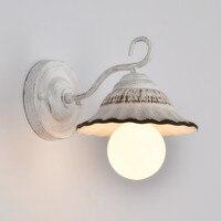 Vintage Retro American Minimalist Ceramic Led Wall Lamps Nordic Creative Balcony Bedroom Aisle Lamp White Wall