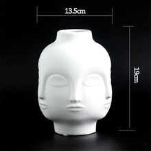 Lady Face Head Planter Vase for Flower Pot Home Garden Ornament White Ceramic Craft