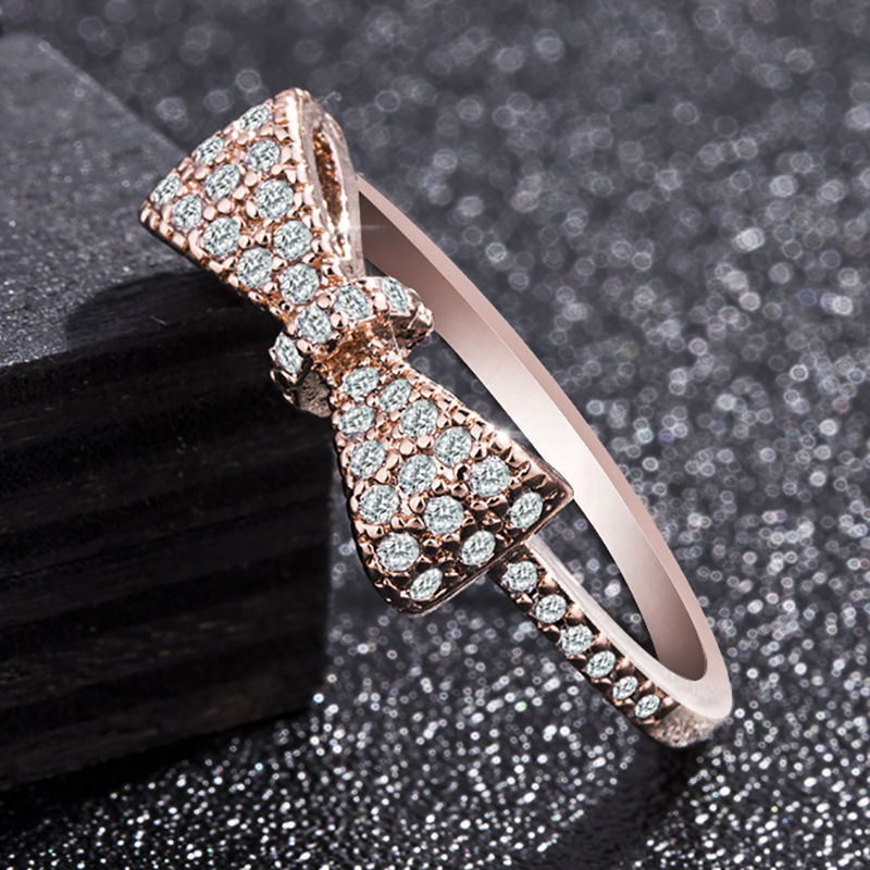 Silver 925 Jewelry Fashion Rose Gold Diamond Close Ring Creative Zircon Butterfly Halloween Jewelry Geometric Type White Gold in Rings from Jewelry Accessories