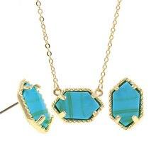 купить YJX Genuine Gold Color Mini Iridescent Drusy Pendant Necklace With Stud Earrings Chic Boutique Jewelry Sets дешево
