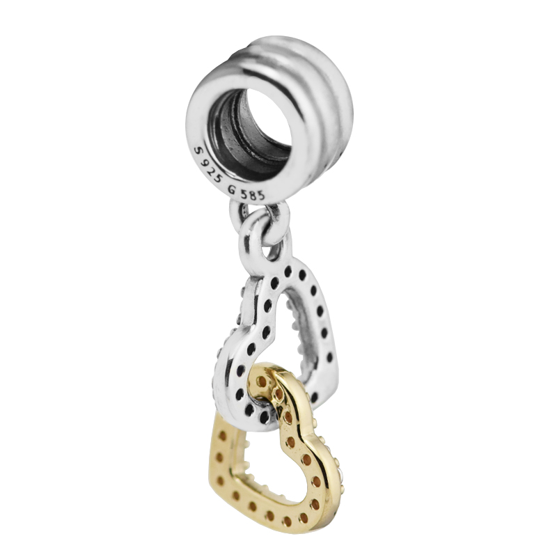 Fits Pandora Bracelet Interlocked Hearts Charm with clear Cz 100% 925 Sterling silver jewelry DIY making wholesale kk313