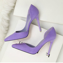 New Women Pumps Shoes Flock Pointed Toe