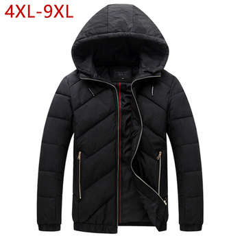 4XL-9XL Good Winter Jackets Big Size Parkas Mens Black Hooded Thick Warm Cotton  Padded Snow Coat Jaqueta Masculina Inverno W12