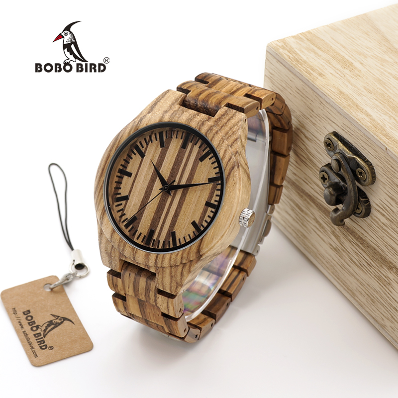 BOBO BIRD WG22 Top Quality Wood Watch for Men Wooden Fashion Brand Designer Full Zebra Watches Wooden Box bobo bird brand new wood sunglasses with wood box polarized for men and women beech wooden sun glasses cool oculos 2017