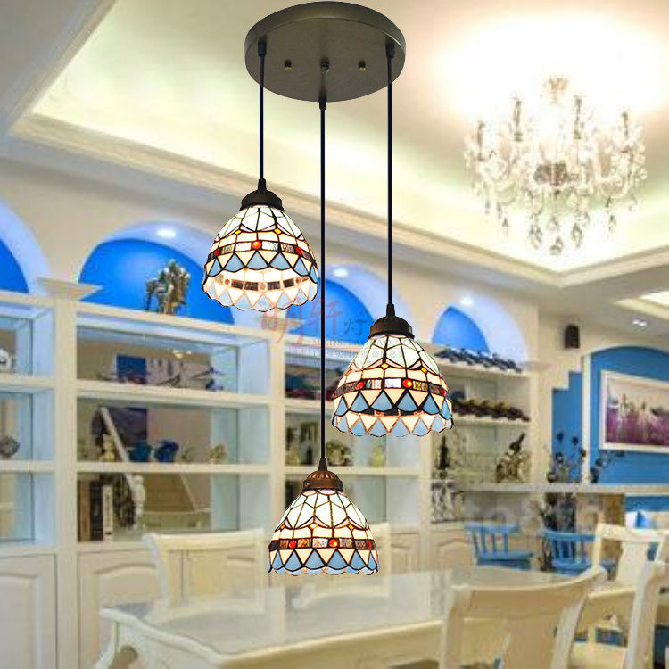 Mediterranean style 3 Glass Shade E27 modern pendant lights for dinning room restaurant lights luminaire lamparas pendant lamps