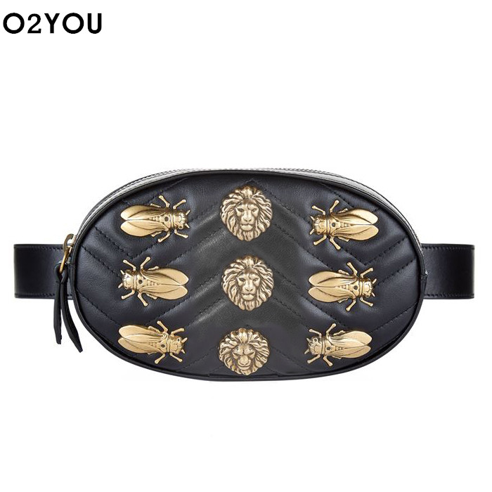 chest <font><b>bag</b></font> women circle cicadas lion <font><b>Waist</b></font> Packs round belt <font><b>bag</b></font> luxury brand fashion leather handbag red black 2018 hight quality