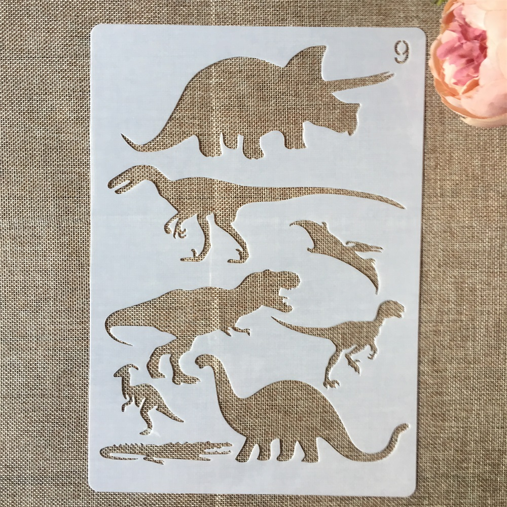 1Pcs 29*21cm Prehistoric Dinosaur Crocodile DIY Layering Stencils Painting Scrapbook Coloring Embossing Decorative Template