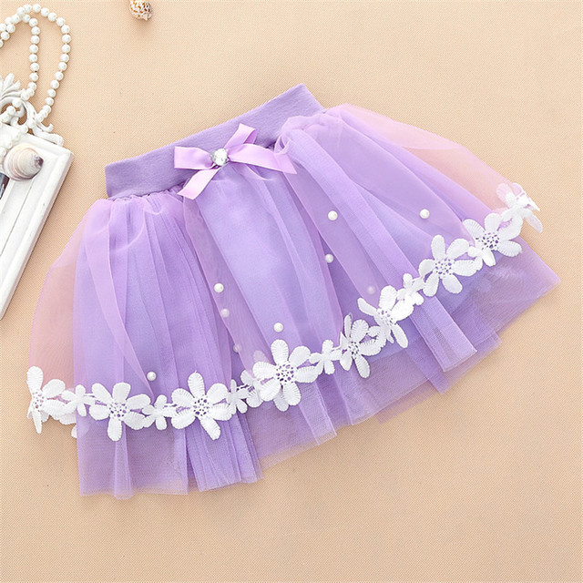 1pc Girls Summer Mini Skirts With Bow Flower Party Wedding Travel Favor Mesh Skirt Ball Gown Princess Style Children Clothes