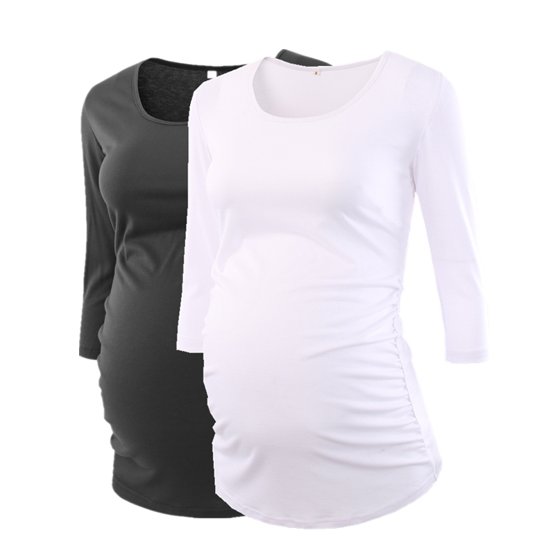 Women's Blouse Maternity Clothes Side Ruched 3 Quarter Sleeve Top Pregnancy Shirt Jersey Top Pregnant Clothes for Women Tops lace trim low cut ruched blouse