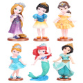 Disney Toys High Quality 6pcs/Lot Snow White Cinderella Mermaid Tangled Princess Diamond Powder Action Figure Pvc Toy Model Doll