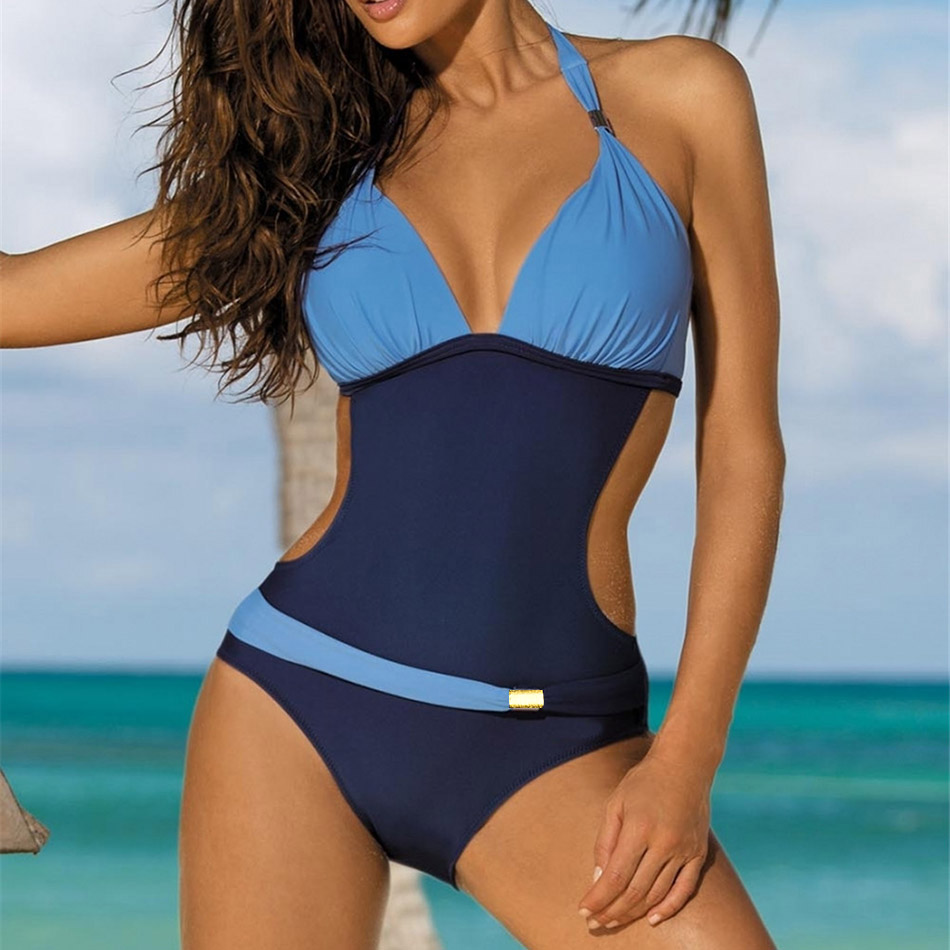Women Sexy One Piece Swimsuit Padded Monokini Female One-Piece Swim Suits Halter Swimwear Push Up Trikini Plus Size Bathing Suit andzhelika one piece swimsuit plus size swimwear women solid patchwork swimwear sexy halter summer bathing suit monokini swim